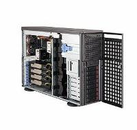 Корпус SuperMicro CSE-747TQ-R1620B, 4U/Tower, E-ATX, 3x5.25', 8x3.5' hot swap SAS/SATA, 11xFH, 462x178x673mm, support 4xdouble-width GPUs + 2xFH/FL&1xFH/FL I/O cards, redundant 1620W