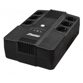 ИБП POWERMAN Brick 600, line-interactive, 600VA, 360W, 3 eurosockets with backup power, 3 eurosockets with surge protection RJ45 / RJ11, battery 12V 7Ah 1 pc., 293mm x 202mm x 93mm, 4.5 kg.