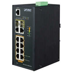 Коммутатор Planet IGS-4215-8P2T2S IP30 Industrial L2/L4 8-Port 10/100/1000T 802.3at PoE + 2-Port 10/100/100T + 2-Port 100/1000X SFP Managed Switch (-40~75 degrees C), dual redundant power input on 48~56VDC terminal block, SNMPv3, 802.1Q VLAN, IGMP Snooping, SSL, SSH, ACL